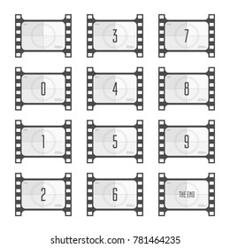 Movie countdown numbers isolated on white background. Screen Countdown to the start of old retro film. Timer counting vintage cinema. Film Counting down for your animation. Vector illustration. EPS 10