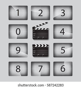Movie countdown numbers set with clapperboards in different positions. Vector realistic illustration.
