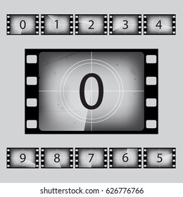 Movie countdown numbers set. Vector illustration.