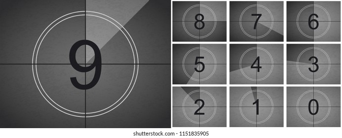 Movie countdown or retro cinema film screen with circle sections timer on grunge film background