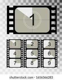 Movie countdown, vintage silent film and blank full frame still photography film realistic thirty five millimeters proportions, set of icons. Vector illustration EPS 10