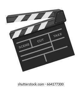 Movie cracker.Making movie single icon in monochrome style vector symbol stock illustration web.