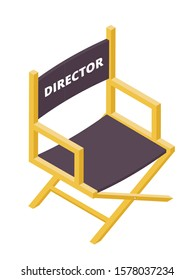 Movie director chair isometric vector illustration. Filmmaker armchair 3d isolated clipart on white background. Cinematography and filmmaking industry. Cinema producer seat design element