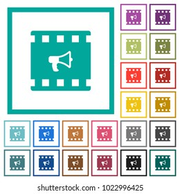 Movie director flat color icons with quadrant frames on white background