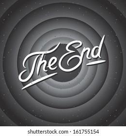 Movie ending screen background, vector illustration.