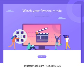 movie festival, online cinema vector illustration concept, people watching movie by online streaming, millenial vlogger, can use for, landing page, template, ui, web, homepage, poster, banner, flyer