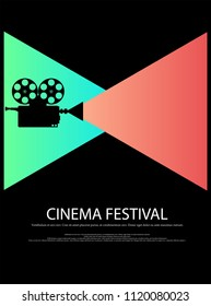 Movie and film abstract modern poster background.Retro cinema festival poster. Design element template can be used for advertising, backdrop, publication, publication, leaflet. Vector illustration.