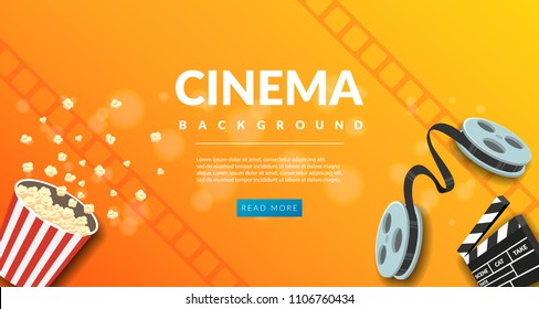 Movie film banner design template. Cinema concept with popcorn, filmstrip and film clapper. Theater cinematography poster. Online cinema art movie watching. Movie vector background.