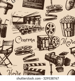 Movie film cinema seamless pattern. Hand drawn vintage illustration