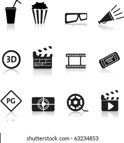 movie, film and cinema, typical black silhouette icon buttons