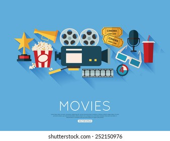 Movie and film concept. Flat style design. Vector illustration.