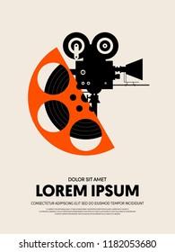 Movie and film festival poster template design modern retro vintage style. Can be used for background, backdrop, banner, brochure, leaflet, publication, vector illustration