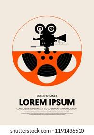 Movie and film festival poster template design modern retro vintage style. Can be used for background, backdrop, banner, brochure, leaflet, flyer, advertisement, publication, vector illustration