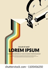 Movie and film modern retro vintage poster background. Design element template can be used for backdrop, brochure, leaflet, publication, vector illustration