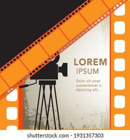 Movie and film modern retro vintage poster background. Design element template can be used of backdrop, brochure, leaflet, vector illustration