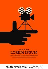 Movie and film modern retro vintage poster background, design element template can be used of backdrop, brochure, leaflet, publication, vector illustration