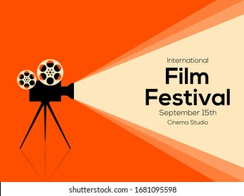 Movie and film poster design template background with vintage film camera. Applicable to backdrop, banner, brochure, leaflet, flyer, print, publication, vector illustration