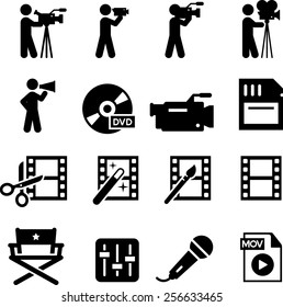 Movie and film production icon set