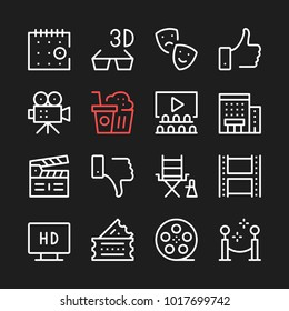 Movie, film production line icons. Modern graphic elements, simple outline thin line design symbols. Vector icons set