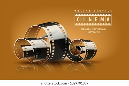 Movie film reel. Cinematography concept for online cinema. Vector illustration.