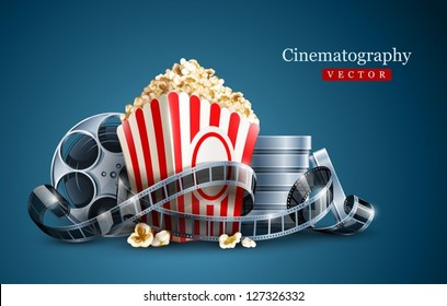 movie film reel and popcorn cinematography concept. EPS10 Vector Illustration.