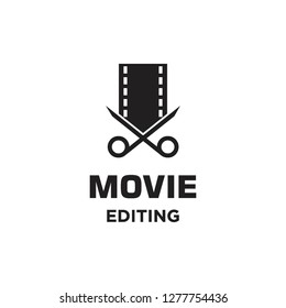 movie film roll with scissor cut editing logo icon vector template