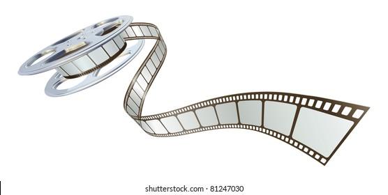 Movie film spooling out of film reel. Symbol for cinema.