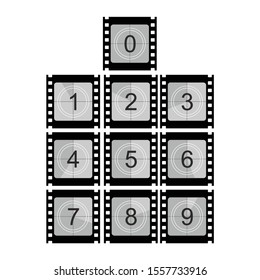 Movie film strip set with countdown number. Black and white cinema concept background vector