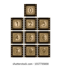 Movie film strip set with countdown number. Cinema concept background vector