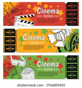 Movie film ticket set. Ticket on cinema festival, admission in entertainment event. Colorful vector sketch illustrations isolated on a white background.