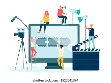 Movie films and video production crew people flat vector illustration isolated on white background. Cinema production staff or filmmakers with screen and movie equipment.