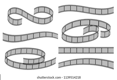 Movie filmstrips. Film plastic roll film strips isolated on white background, old 35mm video ftames strips vector illustration