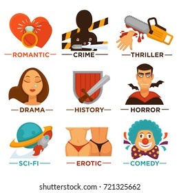 Movie genre cinema vector icons of action, drama, comedy horror thriller