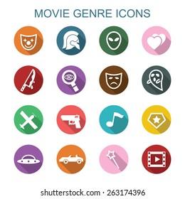 movie genre long shadow icons, flat vector symbols