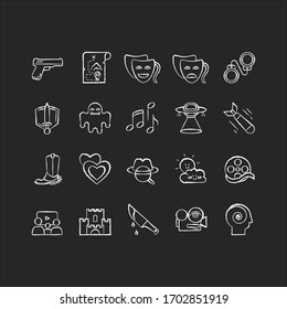 Movie genres chalk white icons set on black background. Cinematography, filmmaking industry, cinema business. Different common film and tv show styles. Isolated vector chalkboard illustrations