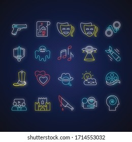 Movie genres neon light icons set. Cinematography, filmmaking industry, cinema signs with outer glowing effect. Different common film and tv show styles. Vector isolated RGB color illustrations