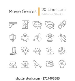 Movie genres pixel perfect linear icons set. Cinematography, filmmaking industry, cinema business customizable thin line contour symbols. Isolated vector outline illustrations. Editable stroke