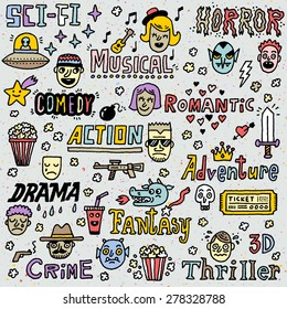 Movie Genres. TV Shows, Series Funny Doodle Vector set. Hand drawn illustration.