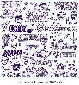 Movie Genres. TV Shows, Series Funny Doodle Vector set. Hand drawn illustration. School notebook.