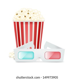 movie glasses and popcorn isolated on white