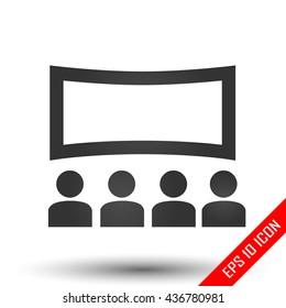 Movie icon. Flat illustration of cinema sign on white background. Cinema watching logo.