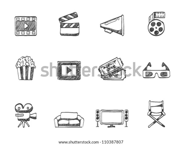 Movie Icon Series Sketch Stock Vector (Royalty Free) 110387807
