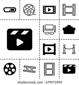 Movie icon. set of 13 filled and outline movie icons such as play, camera lense, camera tape, red carpet, tv set, clapper board