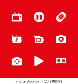 movie icon set. pause, projector and television vector icon for graphic design and web