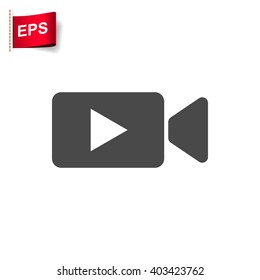 movie icon, vector video sign, isolated cinema symbol