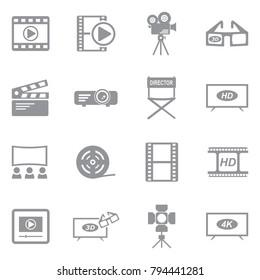 Movie Icons. Gray Flat Design. Vector Illustration.