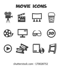 movie icons, mono vector symbols
