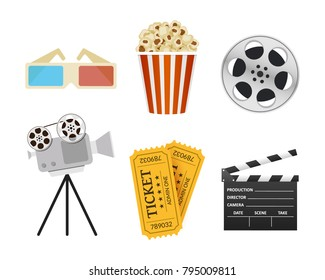 Movie Icons. Realistic style. Popcorn, 3D glasses, cinema clapper, ticket. Film industry. Cinematography concept. Vector illustration.