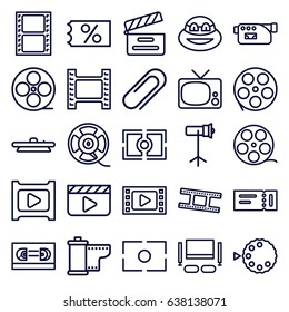 Movie icons set. set of 25 movie outline icons such as ticket, camera, film tape, clip, play, camera lense, studio lapm, tv set, ninja, ticket on sale, clapper board