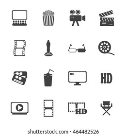 Movie icons set. Vector illustration.